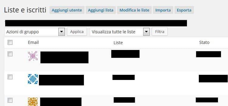 Aggiungi lista su Mailpoet